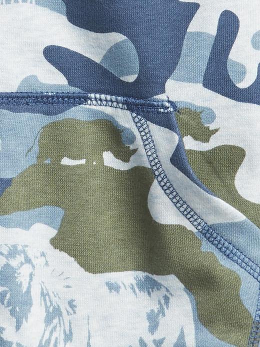 Erkek Bebek Mavi Kapüşonlu Desenli  Sweatshirt
