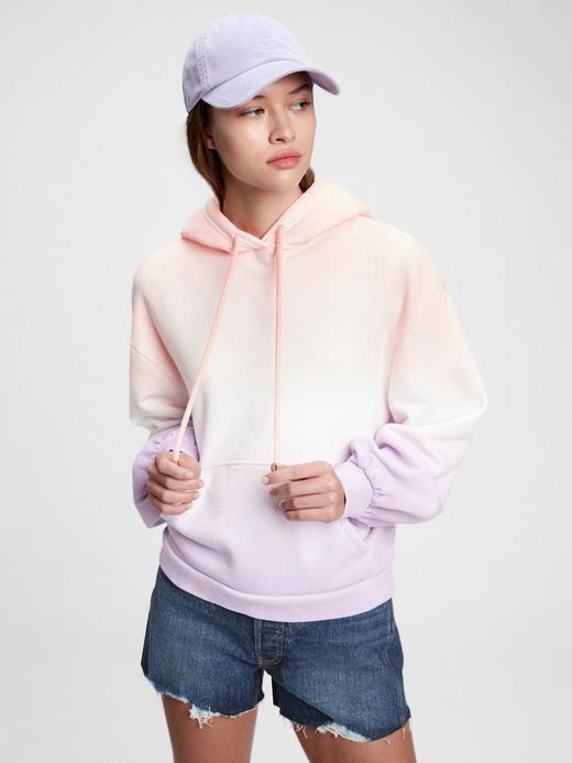 Kadın Mor Balon Kollu Kapüşonlu Sweatshirt