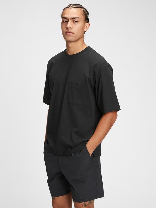 Erkek Siyah Geniş Kesimli Cepli T-shirt