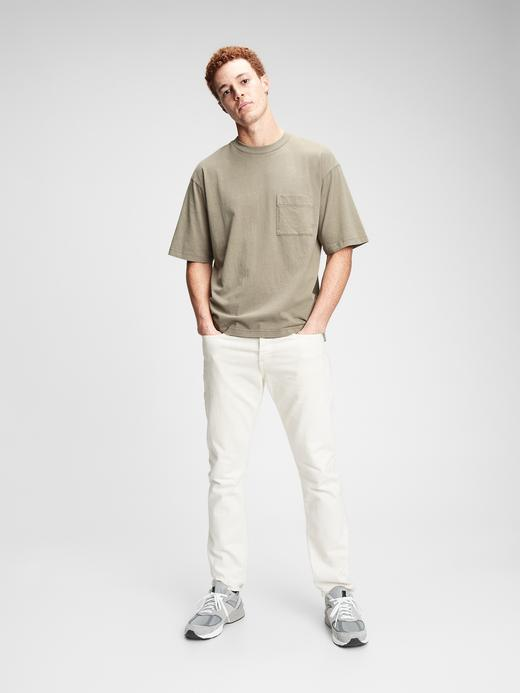 Erkek Yeşil Geniş Kesimli Cepli T-shirt