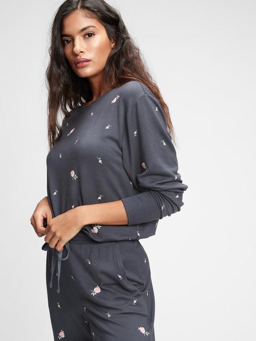 Kadın siyah çiçekli Modal Karışımlı Supersoft Pijama Üstü