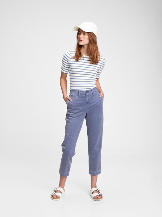 Kadın Mavi High Rise Straight Fit Khaki Pantolon