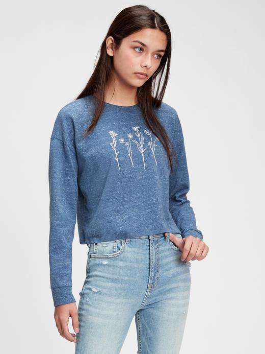 Kız Çocuk Mavi Organik Grafik T-Shirt