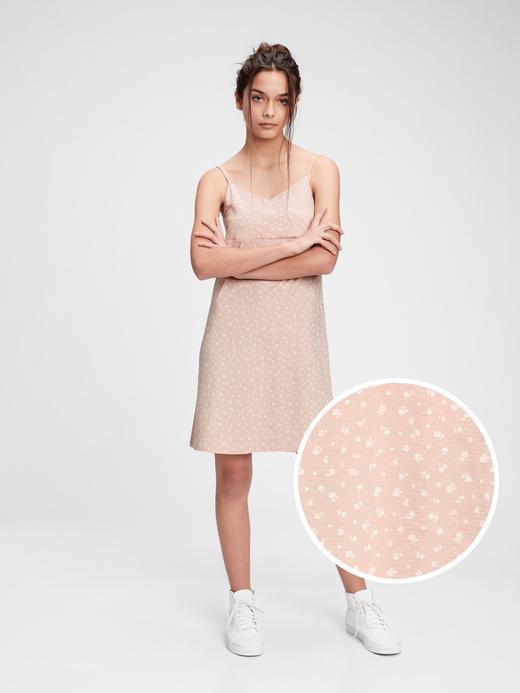 Genç Kız Pembe Teen Desenli Askılı Elbise