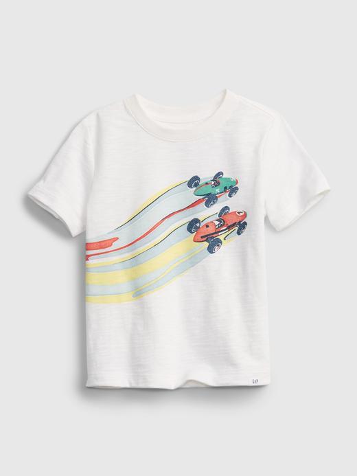 Erkek Bebek Beyaz Grafik T-shirt