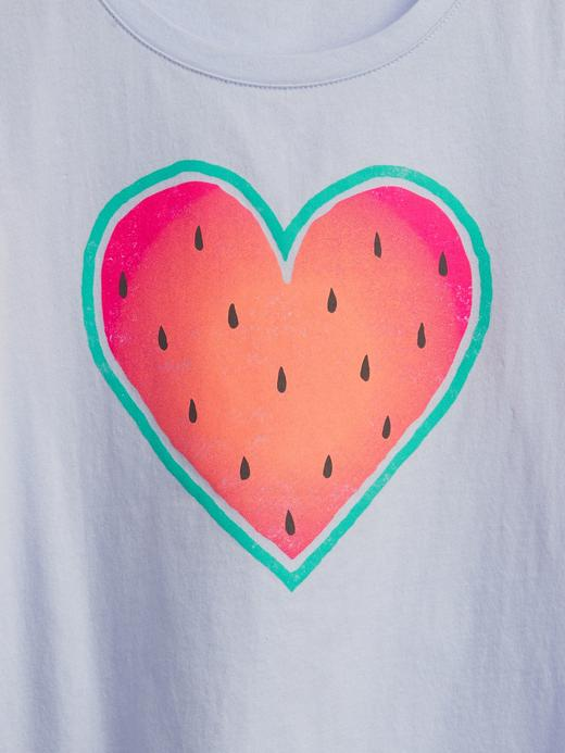 Kız Çocuk Gri Organik Grafik T-Shirt
