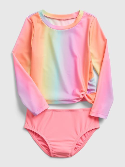 Kız Bebek Çok Renkli Gökkuşağı Baskılı Mayo Takımı