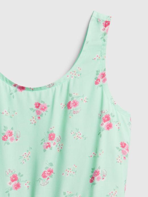 Kız Çocuk Yeşil Çiçek Desenli Elbise