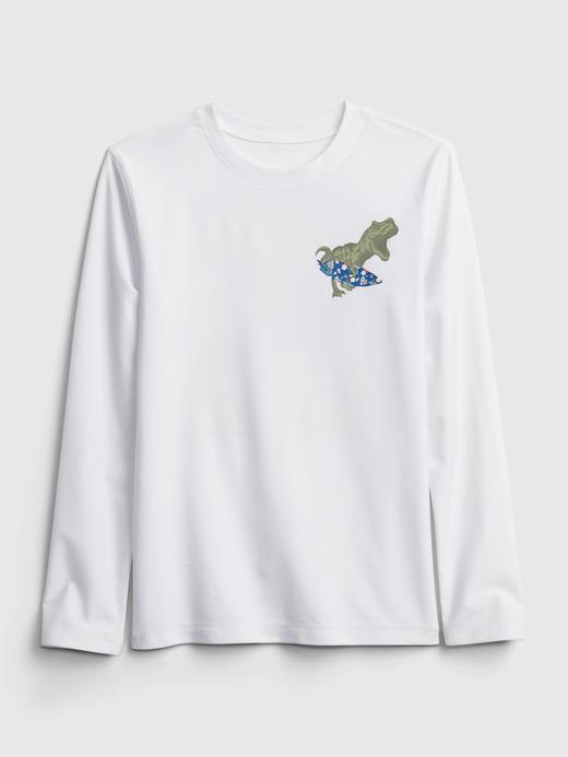 Erkek Çocuk Beyaz Grafik Desenli Rashguard Mayo T-Shirt