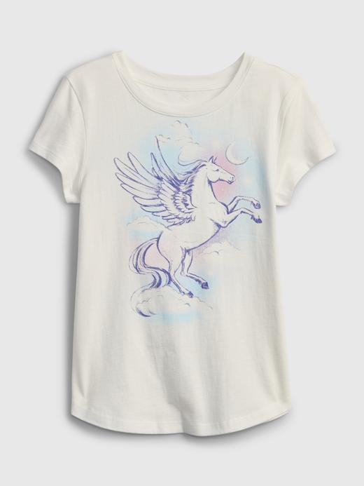 Kız Çocuk Beyaz Organik Grafik T-Shirt