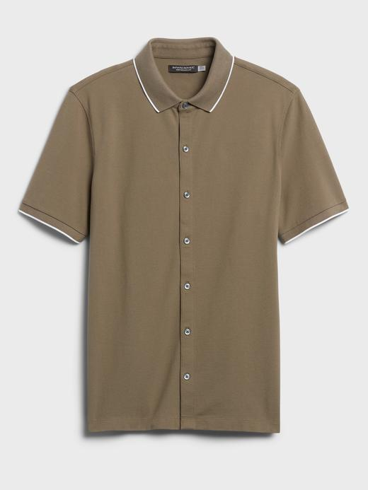 Erkek Haki Düğmeli Polo Yaka T-Shirt