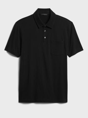 Erkek Siyah Organik Soft Wash Polo Yaka T-Shirt