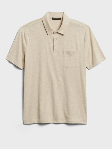 Erkek Bej Organik Soft Wash Polo Yaka T-Shirt