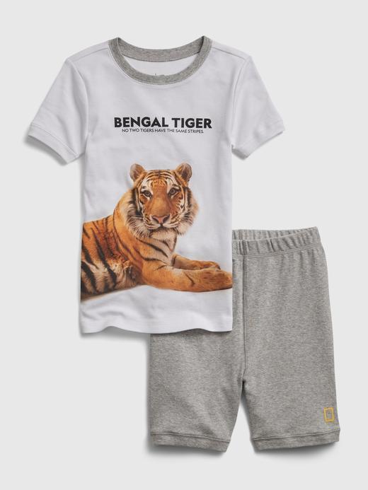 Erkek Çocuk Beyaz National Geographic Bengal Tiger Pijama Takımı