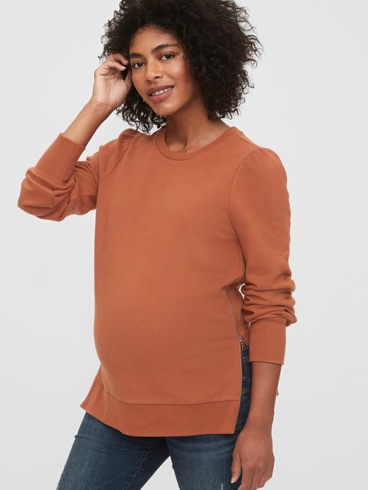 Kadın Kahverengi Maternity Fermuarlı Sweatshirt