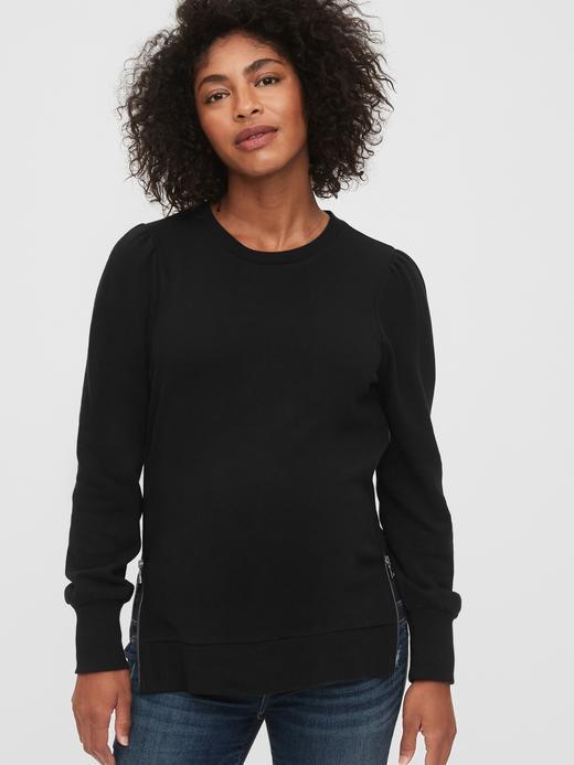 Kadın Siyah Maternity Fermuarlı Sweatshirt