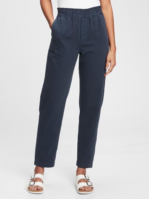 Kadın Lacivert High Rise Paperbag Pantolon