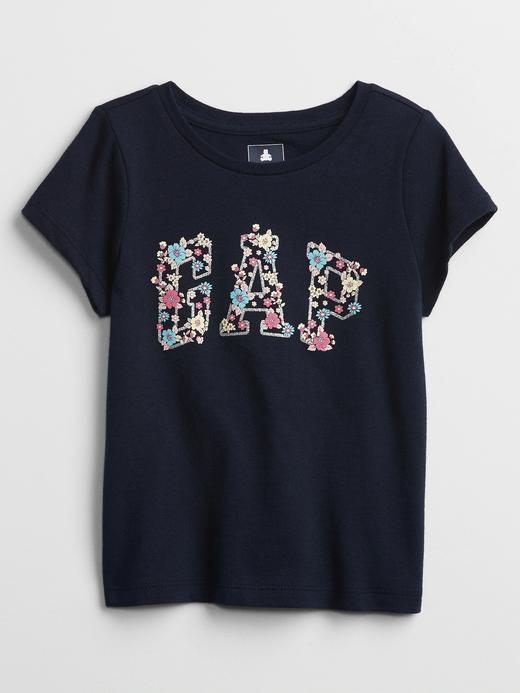 Kız Bebek Siyah Gap Logo Kısa Kollu T-shirt