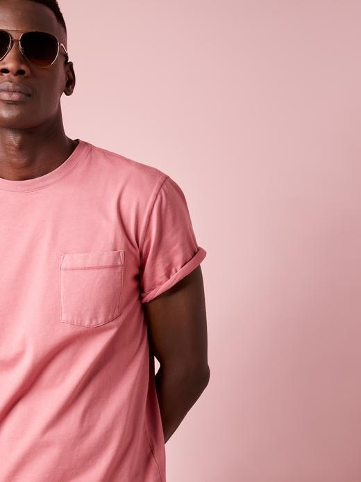 Erkek Pembe Authentic SUPIMA® Yuvarlak Yaka T-Shirt