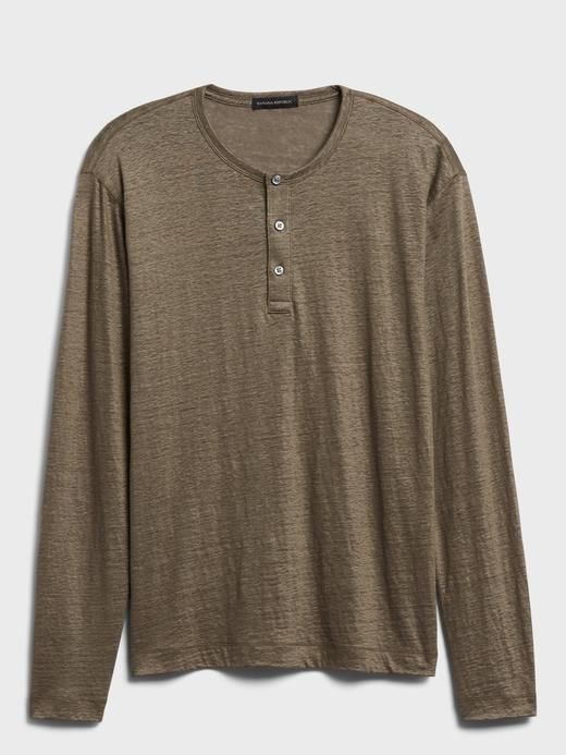 Erkek Yeşil Keten Henley T-Shirt