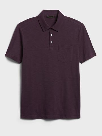 Erkek Mor Organik Soft Wash Polo Yaka T-Shirt