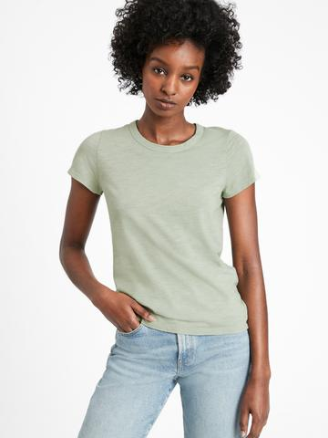 Kadın Yeşil Yuvarlak Yakalı Kısa Kollu T-Shirt