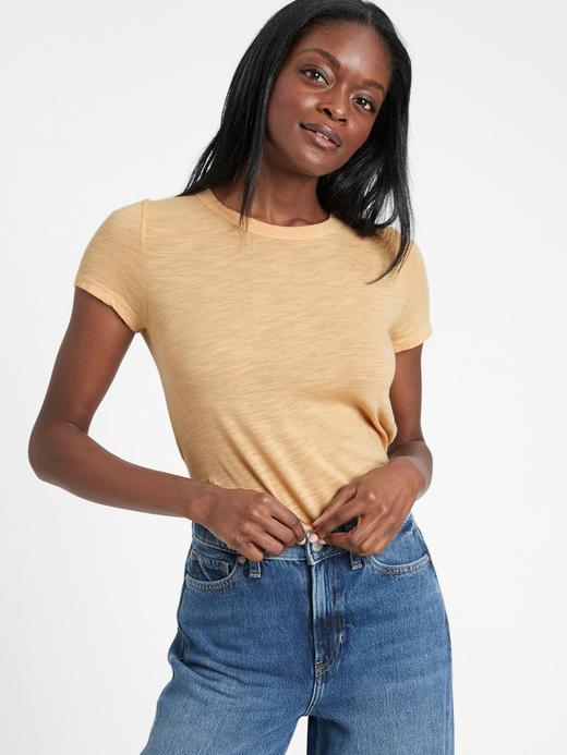 Kadın Sarı Yuvarlak Yakalı Kısa Kollu T-Shirt