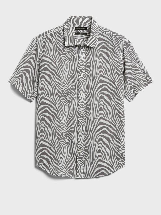 Erkek Beyaz Untucked Slim-Fit Pamuk Gömlek