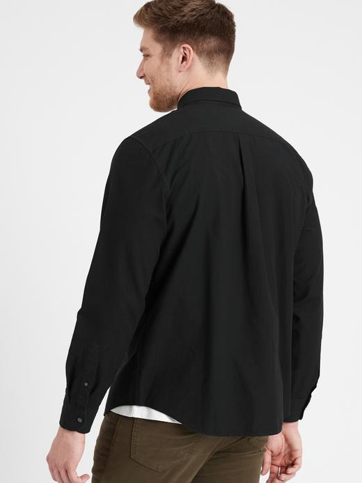 Erkek Siyah Untucked Slim-Fit Pamuk Oxford Gömlek