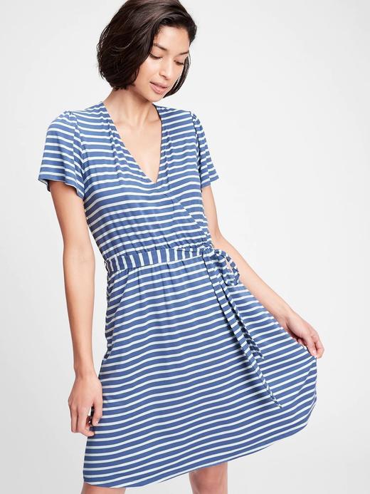Kadın Mavi Kısa Kollu Anvelop Elbise