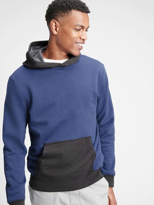 Erkek Mavi Kapişonlu Sweatshirt
