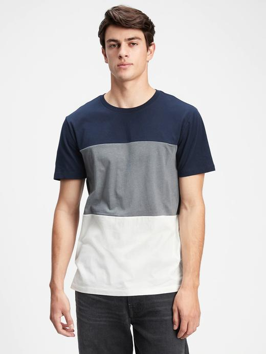 Erkek Lacivert Renk Bloklu  T-Shirt