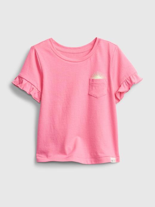 Kız Bebek Pembe Organik Pamuklu Fırfır Detaylı T-Shirt