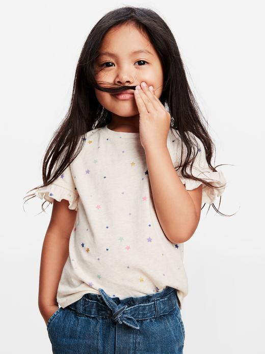 Kız Bebek Beyaz Organik Pamuklu Fırfır Detaylı T-Shirt