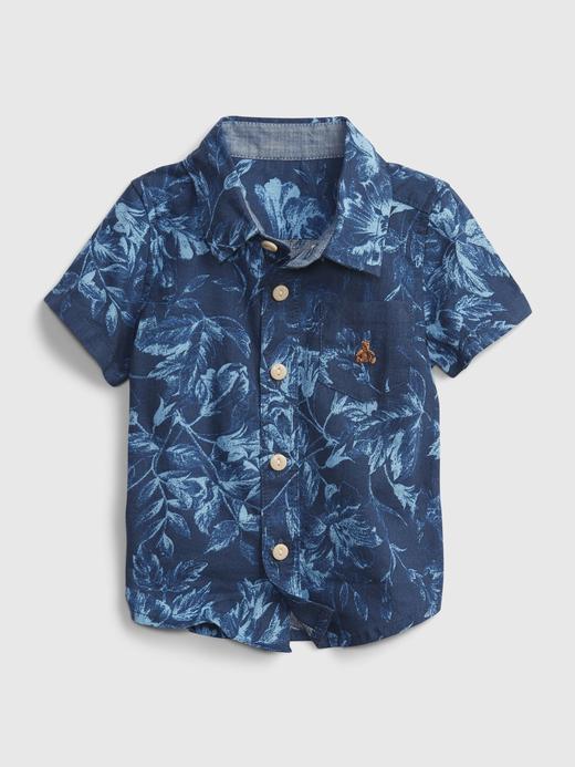 Erkek Bebek Lacivert Çiçek Desenli Gömlek
