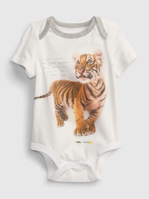 Erkek Bebek Beyaz National Geographic Organik Pamuklu Grafik Desenli Body