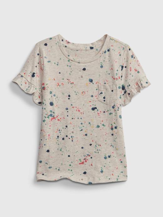 Kız Bebek Gri Organik Pamuklu Fırfır Detaylı T-Shirt