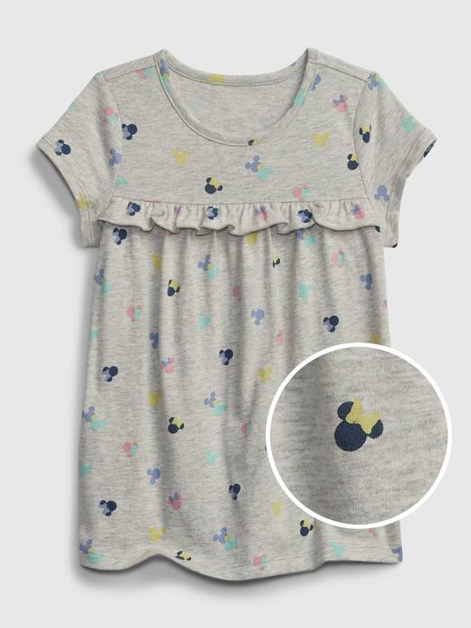 Kız Bebek Gri Organik Pamuklu Disney Minnie Mouse Desenli Elbise