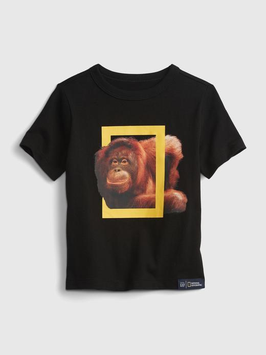 Erkek Bebek Siyah Organik Pamuklu  National Geographic Desenli T-Shirt