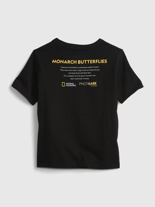Erkek Bebek Beyaz Organik Pamuklu  National Geographic Desenli T-Shirt