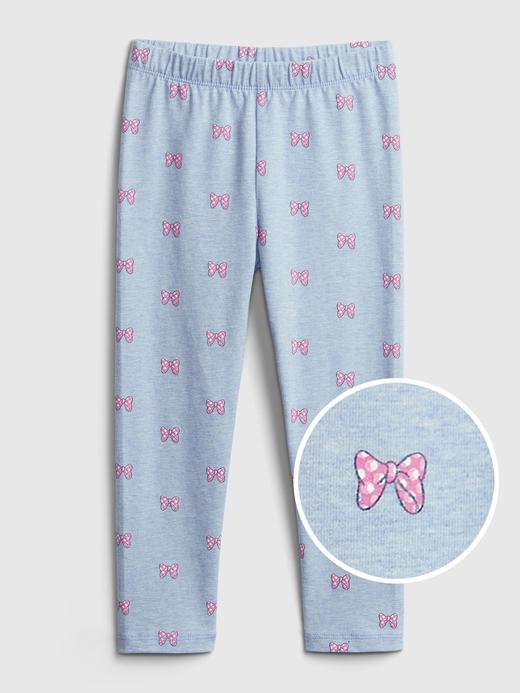 Kız Bebek Mavi Organik Pamuklu  Disney Minnie Mouse Desenli Tayt