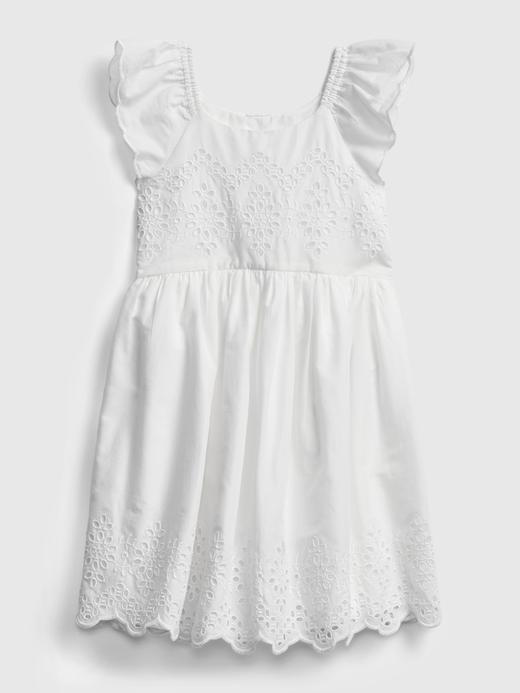 Kız Bebek Beyaz Fırfır Detaylı  Elbise