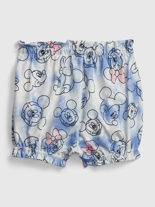 Kız Bebek Mavi Organik Pamuklu Mickey Minnie Mouse Desenli Şort