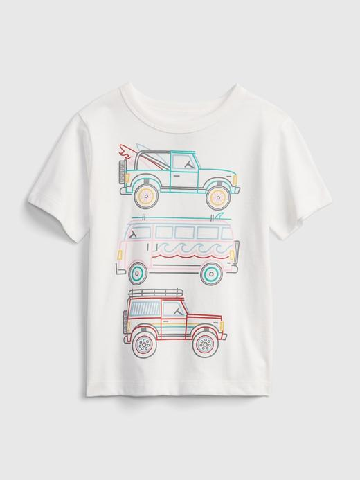 Erkek Bebek Beyaz Organik Pamuk  Grafik Desenli T-Shirt
