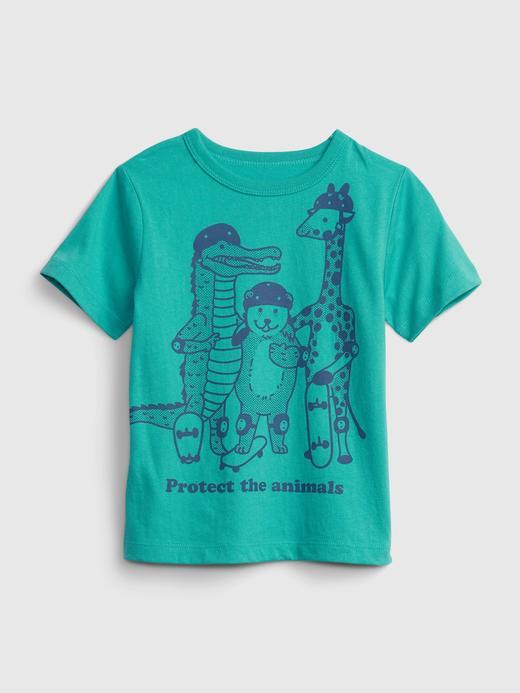 Erkek Bebek Yeşil Organik Pamuk  Grafik Desenli T-Shirt