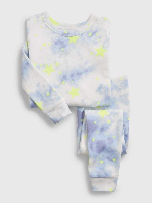 Kız Bebek Mavi Organik Pamuklu Tie-Dye Pijama Takımı