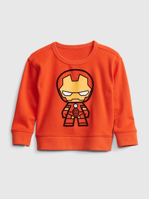 Erkek Bebek Turuncu Marvel Grafik Desenli Sweatshirt