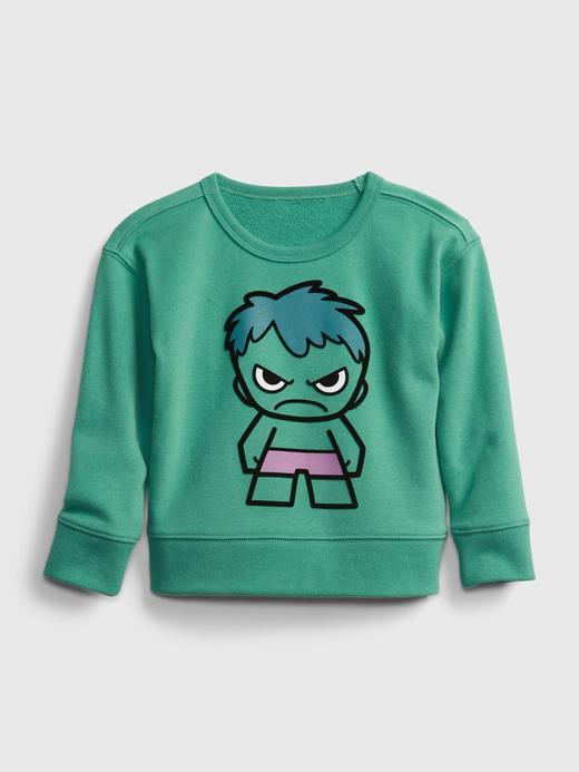 Erkek Bebek Yeşil Marvel Grafik Desenli Sweatshirt