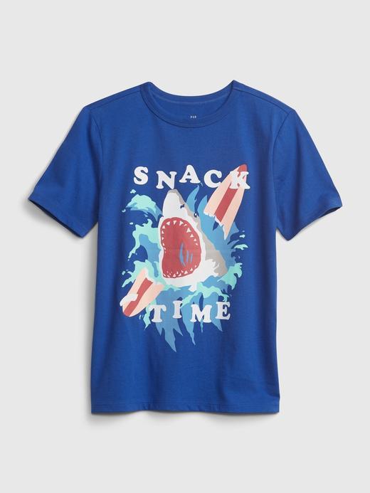 Erkek Çocuk Mavi Organik Pamuk  Grafik Desenli T-Shirt