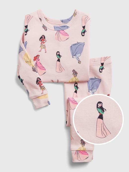 Kız Bebek Pembe Organik Pamuklu Disney Prenses Desenli Pijama Takımı